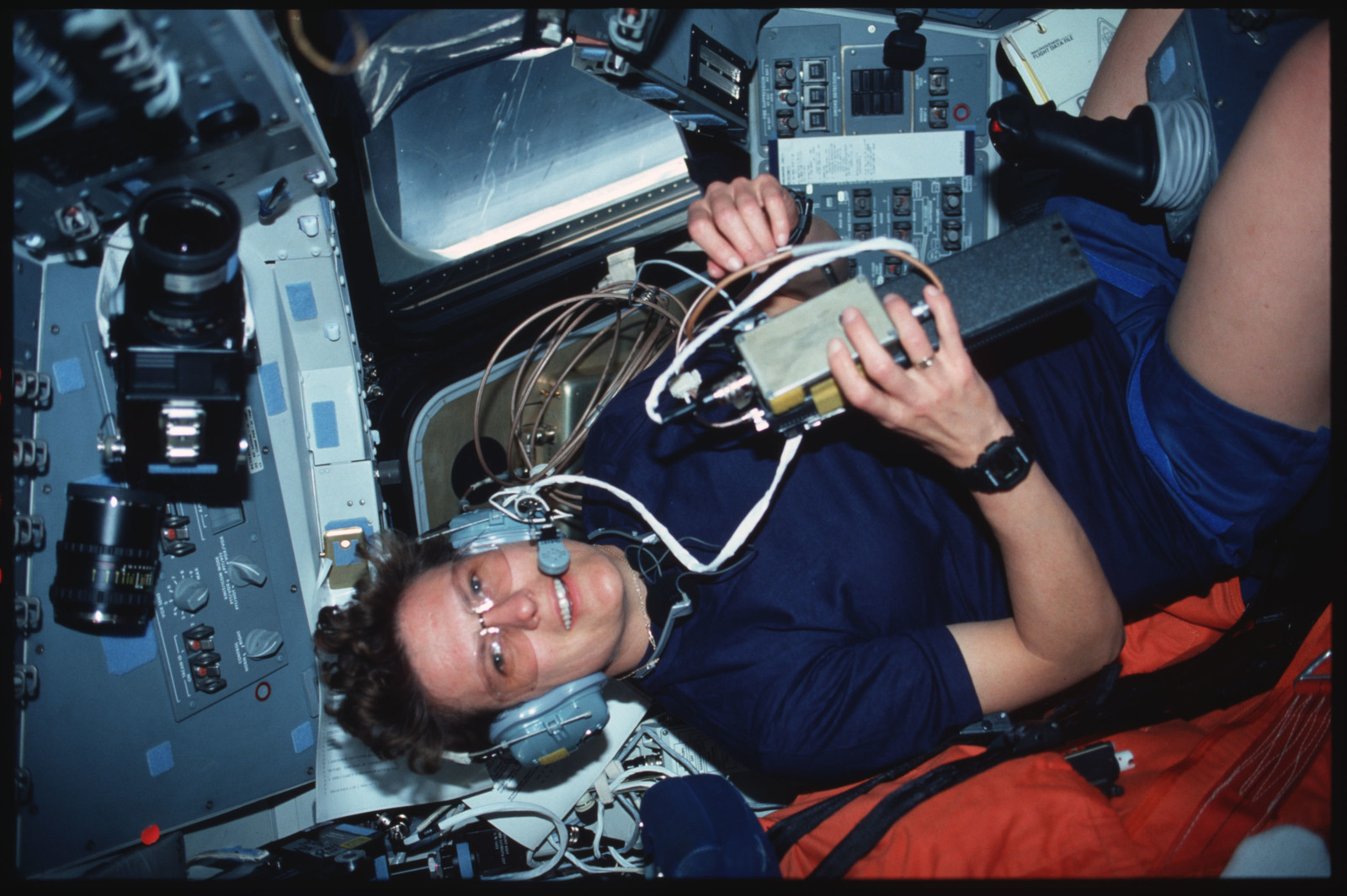 S45-13-022 - STS-045 - STS-45 crewmembers engage in various activities