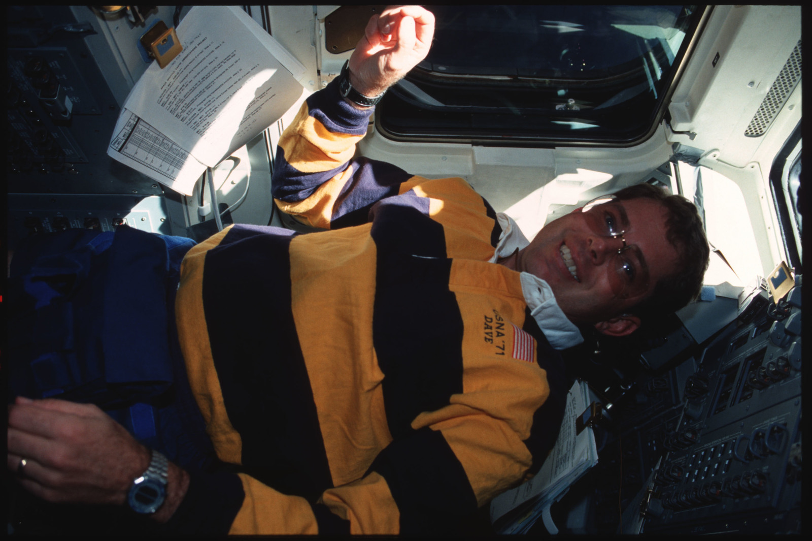 S45-16-021 - STS-045 - STS-45 crewmembers engage in various activities