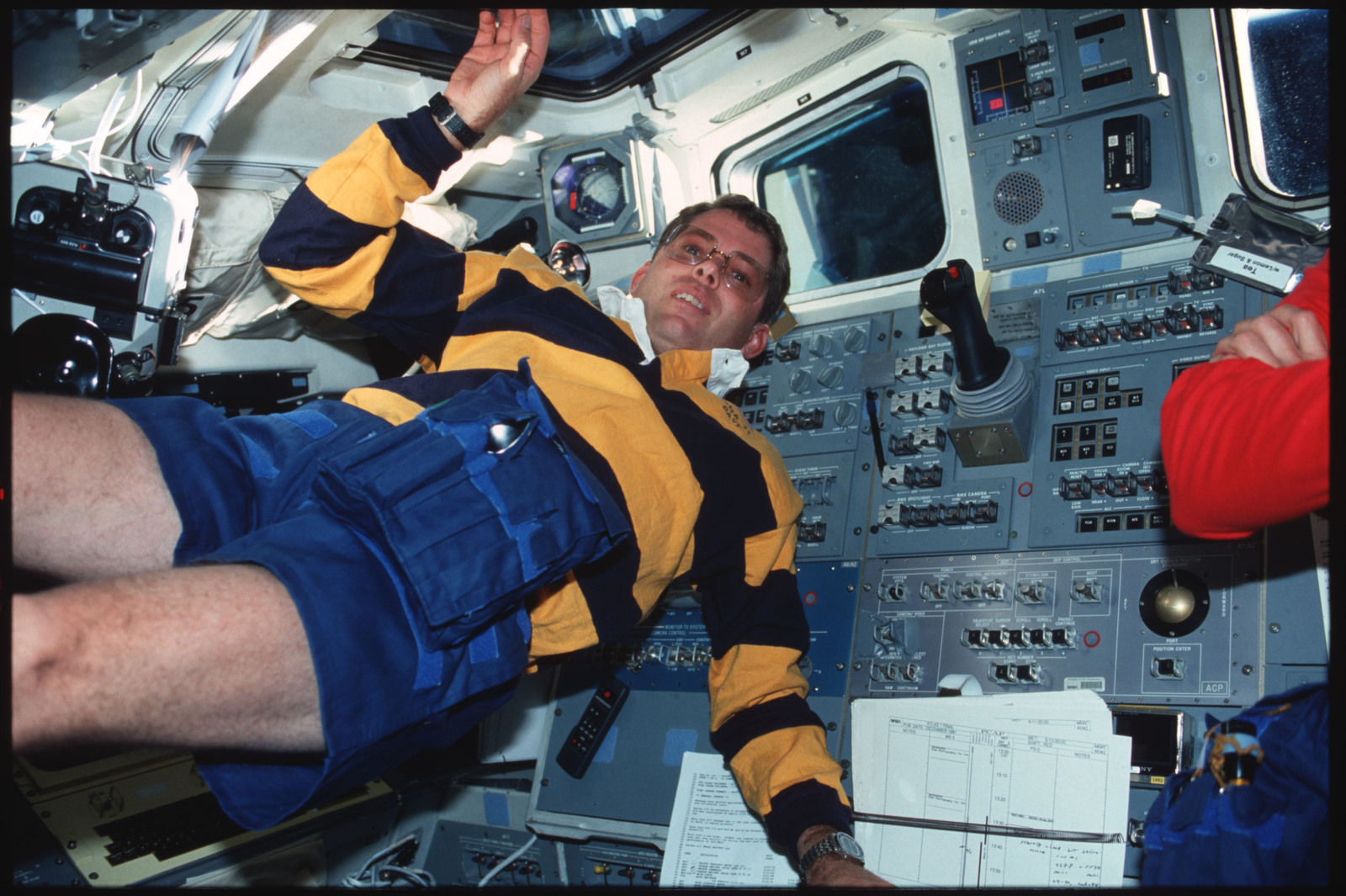 S45-16-023 - STS-045 - STS-45 crewmembers engage in various activities
