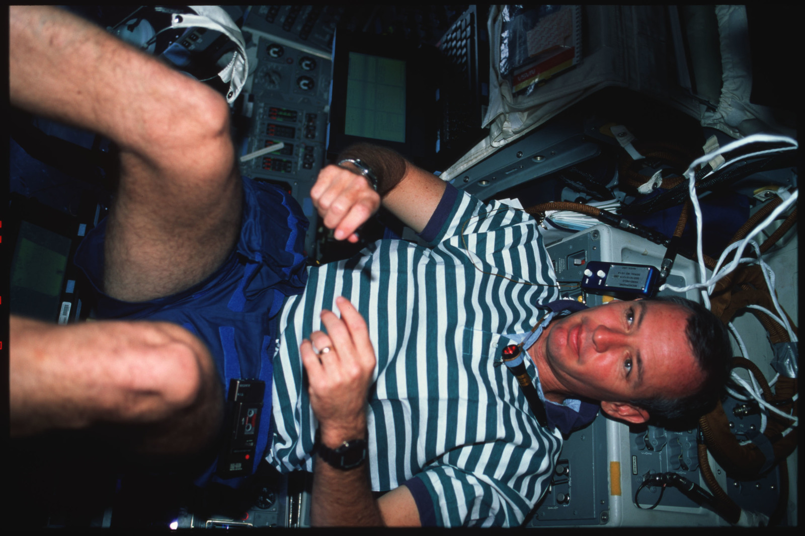 S45-41-005 - STS-045 - STS-45 crewmembers engage in various activities