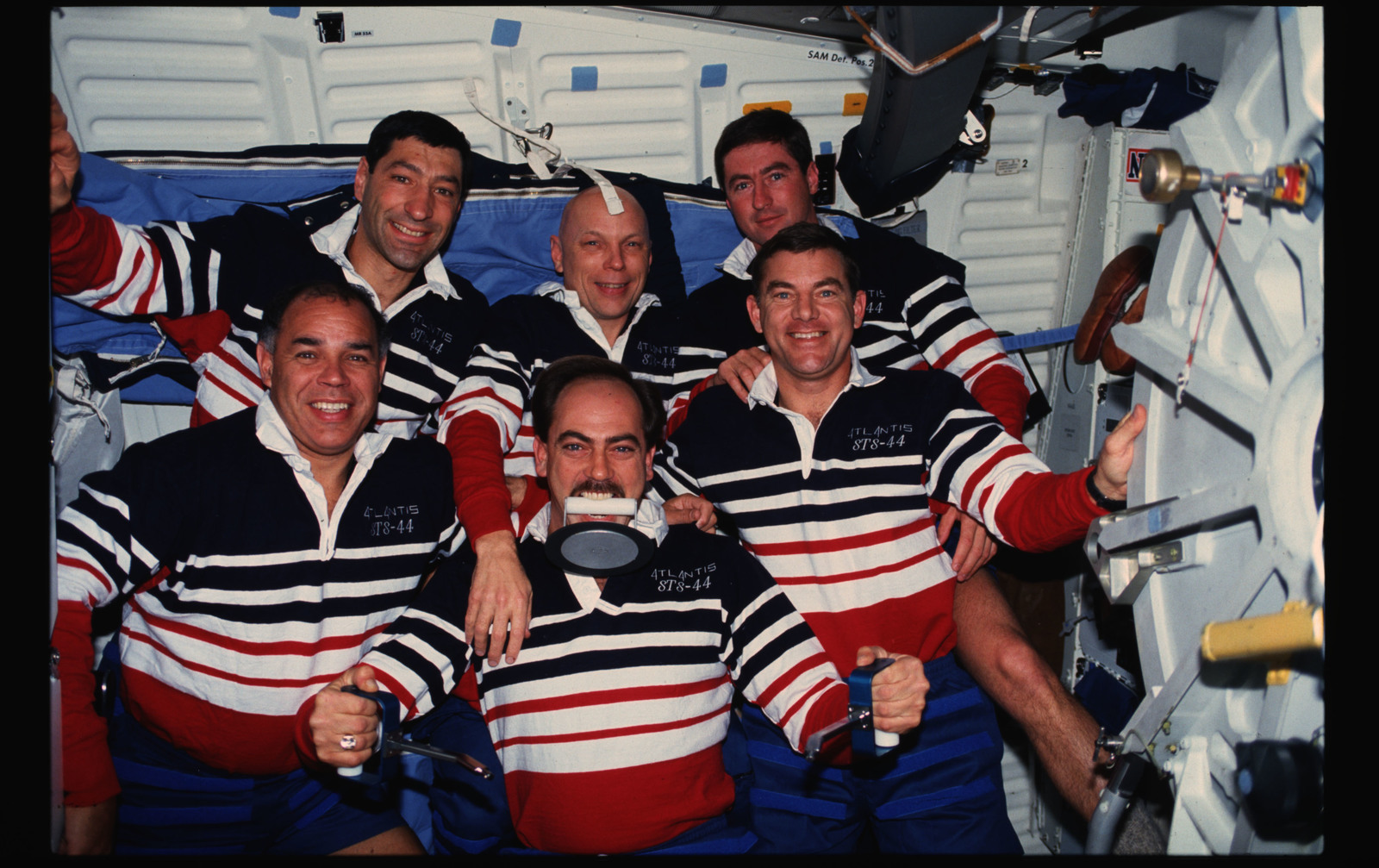 STS044-17-030 - STS-044 - STS-44 onboard (in-space) crew portrait features ``Trash Man`` Hennen