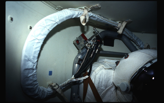 STS044-43-008 - STS-044 - Views of the Extravehicular Mobility Units in OV-104's airlock