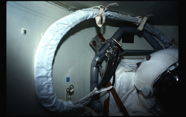 STS044-43-009 - STS-044 - Views of the Extravehicular Mobility Units in OV-104's airlock