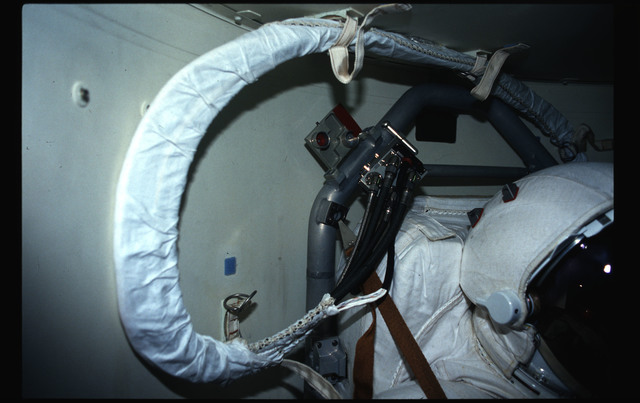 STS044-43-010 - STS-044 - Views of the Extravehicular Mobility Units in OV-104's airlock