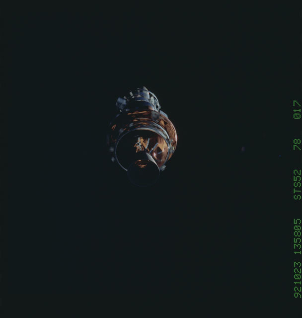 STS052-78-017 - STS-052 - The deployed LAGEOS II/IRIS spacecraft drifting in space during STS-52