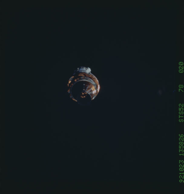 STS052-78-020 - STS-052 - The deployed LAGEOS II/IRIS spacecraft drifting in space during STS-52