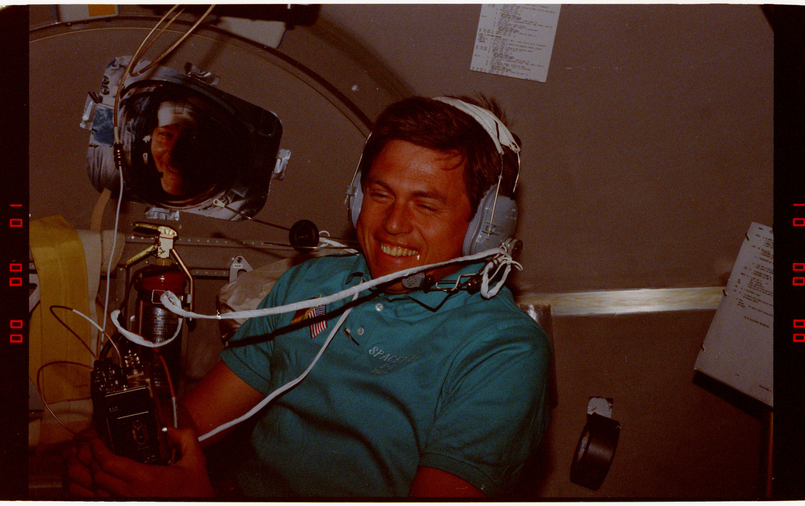 STS055-203-022 - STS-055 - Crewmember in the D-2 Spacelab with Shuttle Amateur Radio Experiment II.