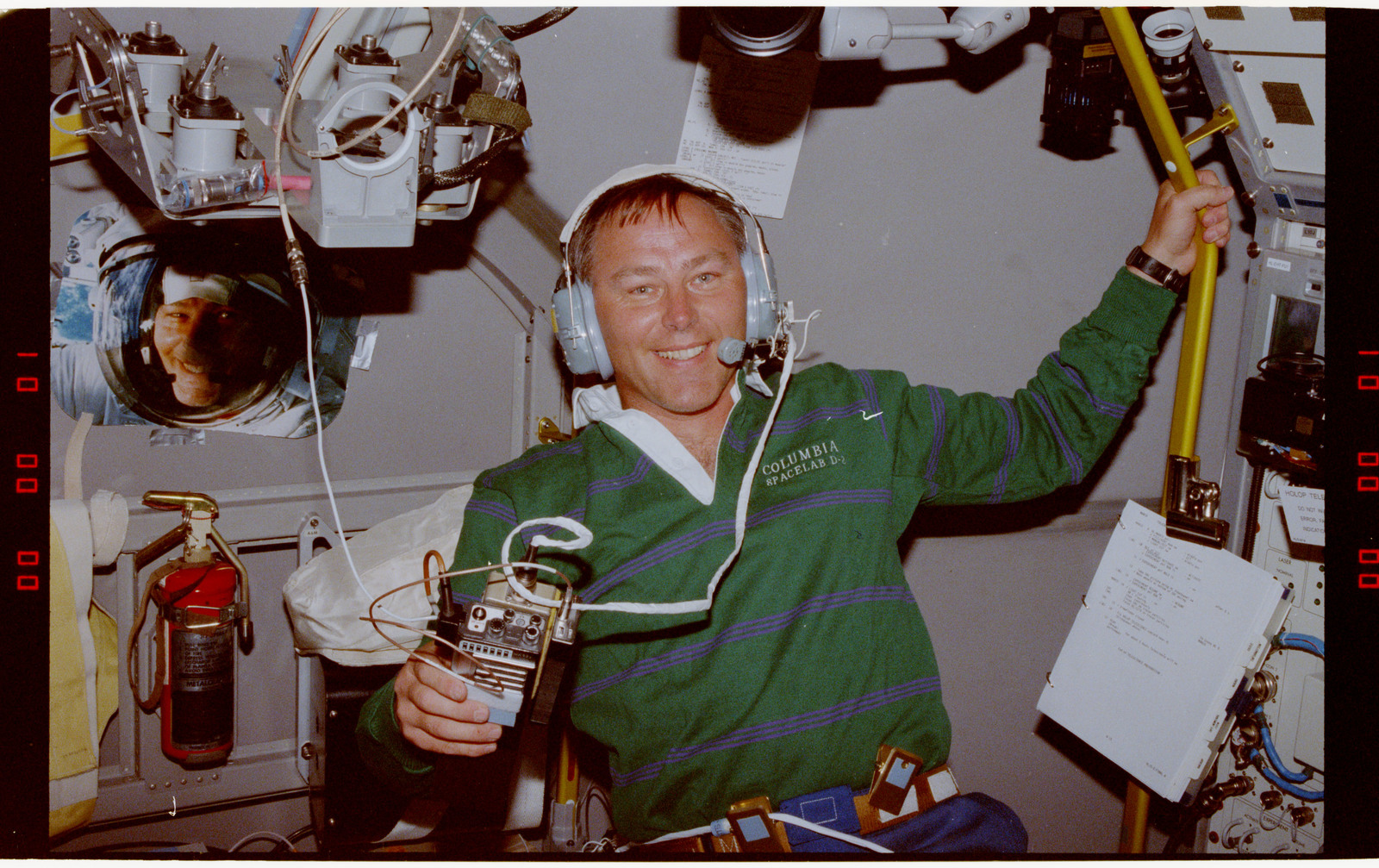 STS055-203-028 - STS-055 - Crewmember in the D-2 Spacelab with Shuttle Amateur Radio Experiment II.