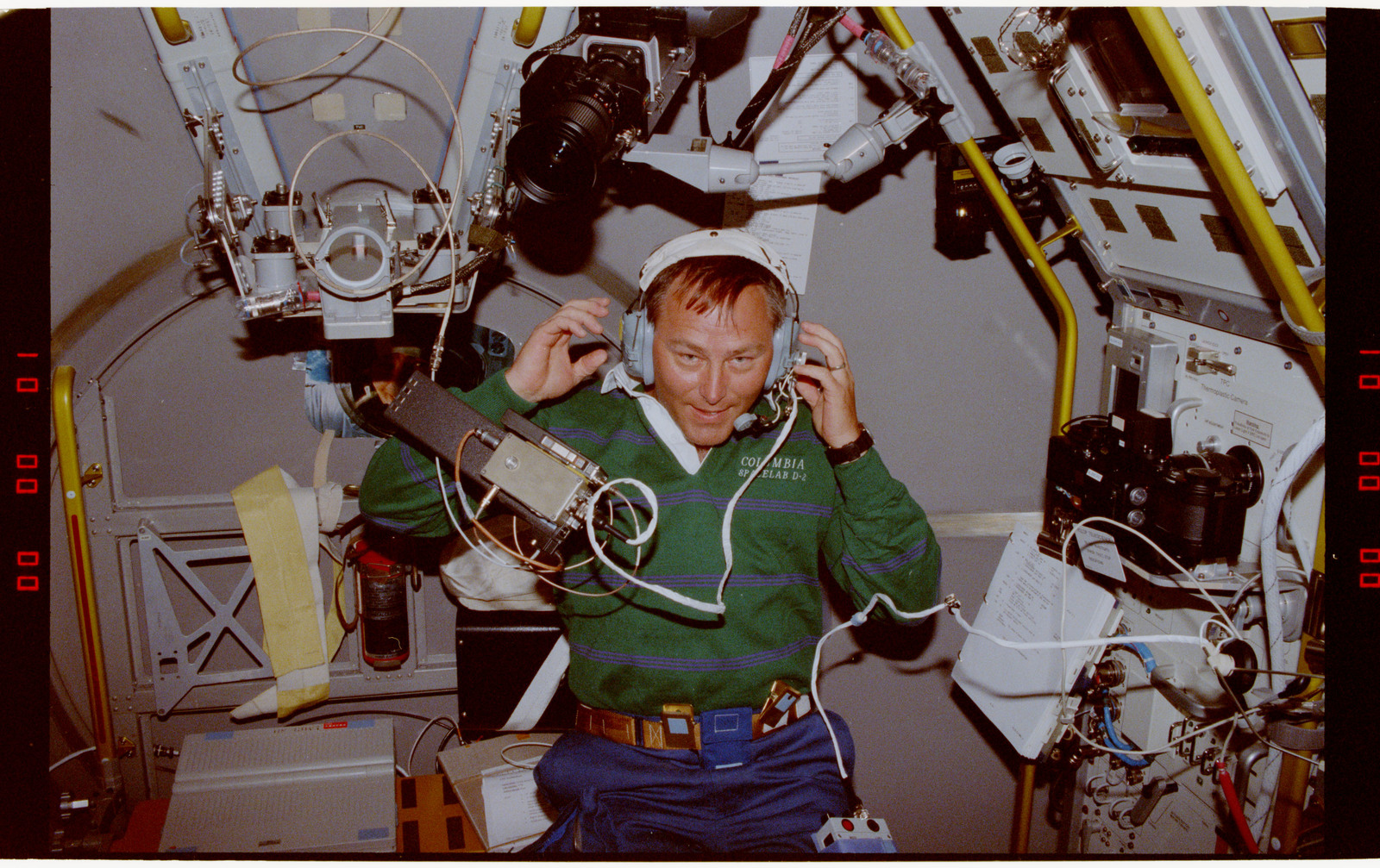 STS055-203-030 - STS-055 - Crewmember in the D-2 Spacelab with Shuttle Amateur Radio Experiment II.