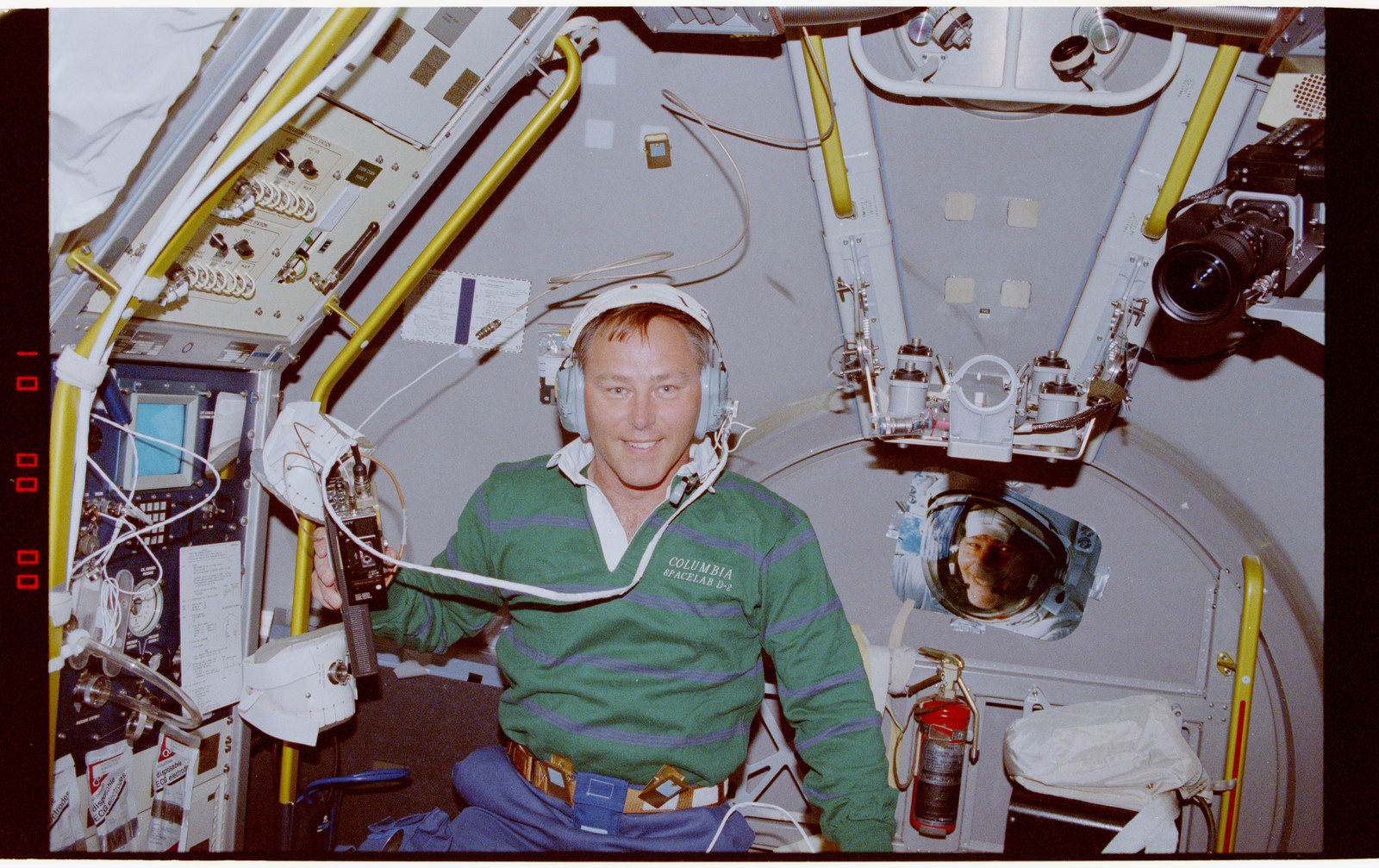 STS055-203-037 - STS-055 - Crewmember in the D-2 Spacelab with Shuttle Amateur Radio Experiment II.