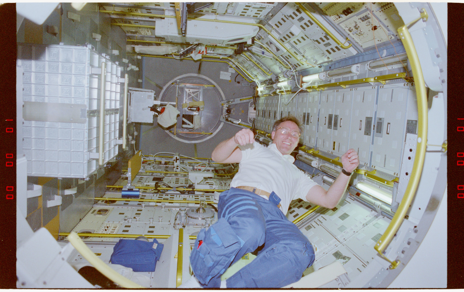 STS055-214-030 - STS-055 - Crewmember in the D-2 Spacelab.