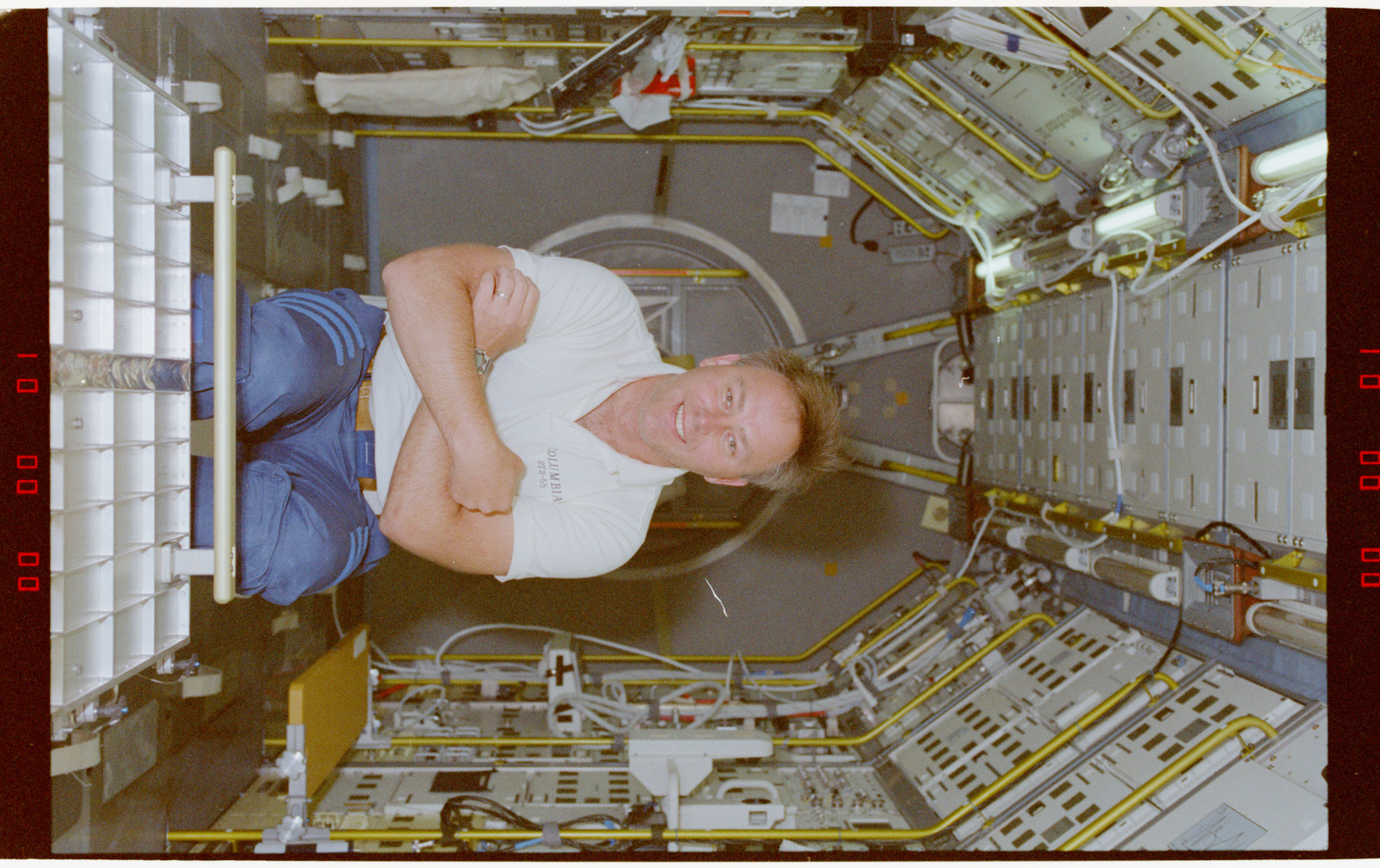 STS055-218-004 - STS-055 - Crewmember in the D-2 Spacelab.