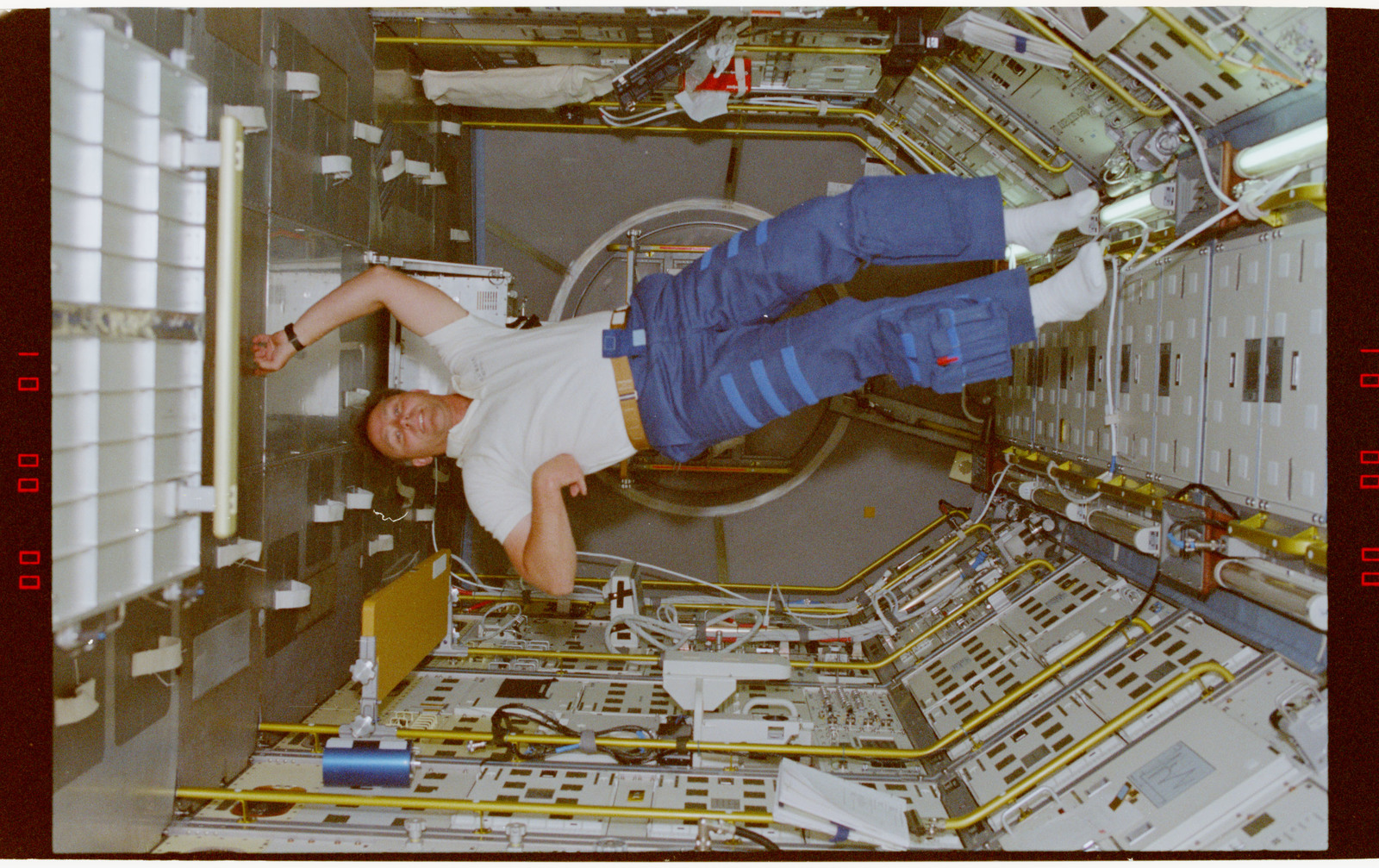 STS055-218-008 - STS-055 - Crewmember in the D-2 Spacelab.