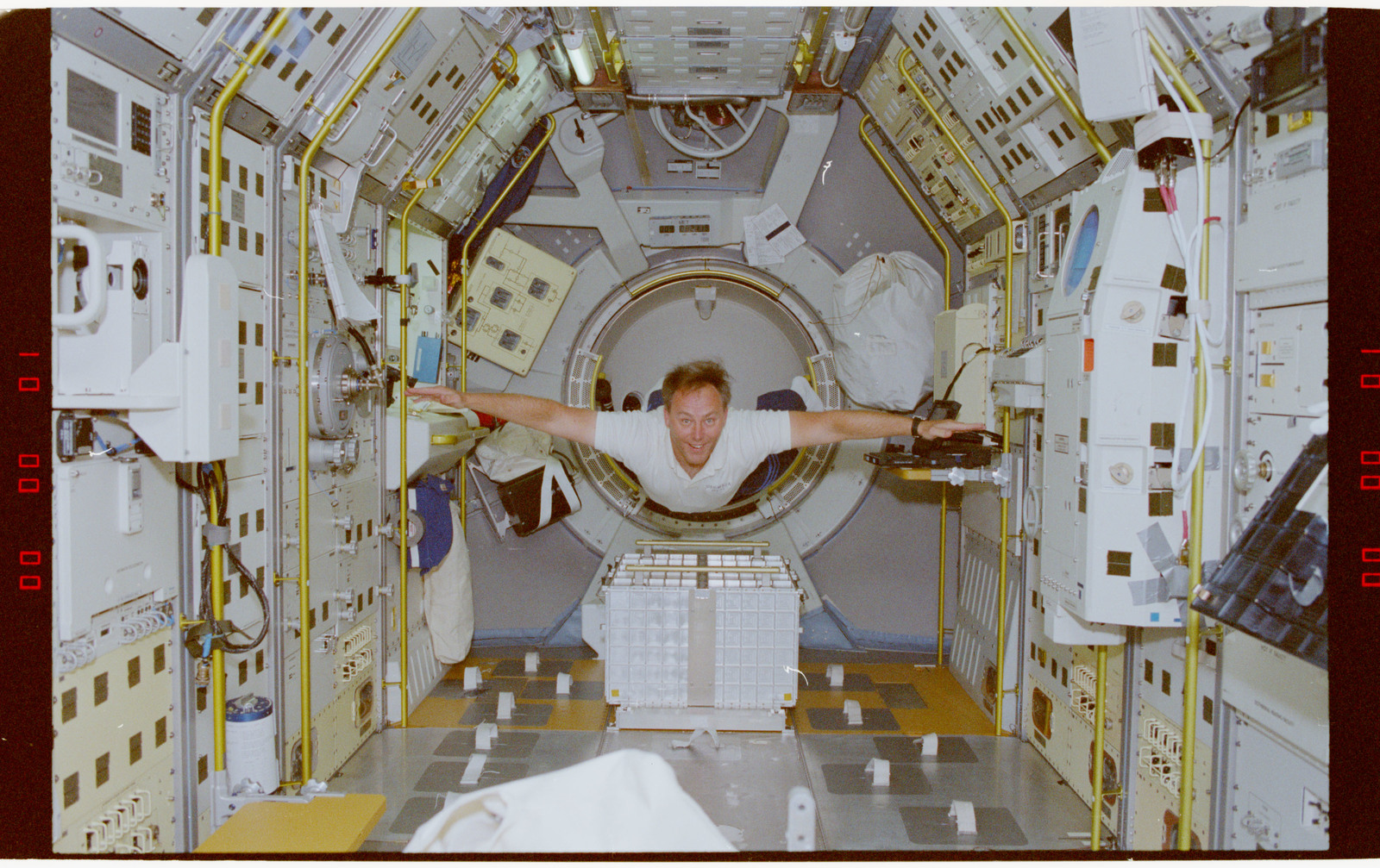 STS055-218-020 - STS-055 - Crewmember in the D-2 Spacelab.