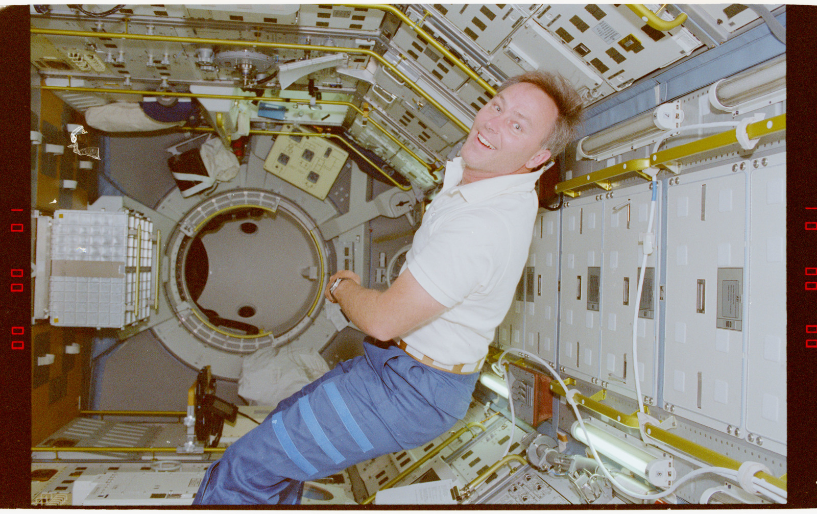 STS055-218-031 - STS-055 - Crewmember in the D-2 Spacelab.