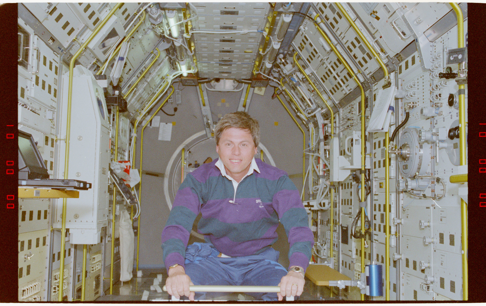 STS055-219-005 - STS-055 - Crewmember in the D-2 Spacelab.