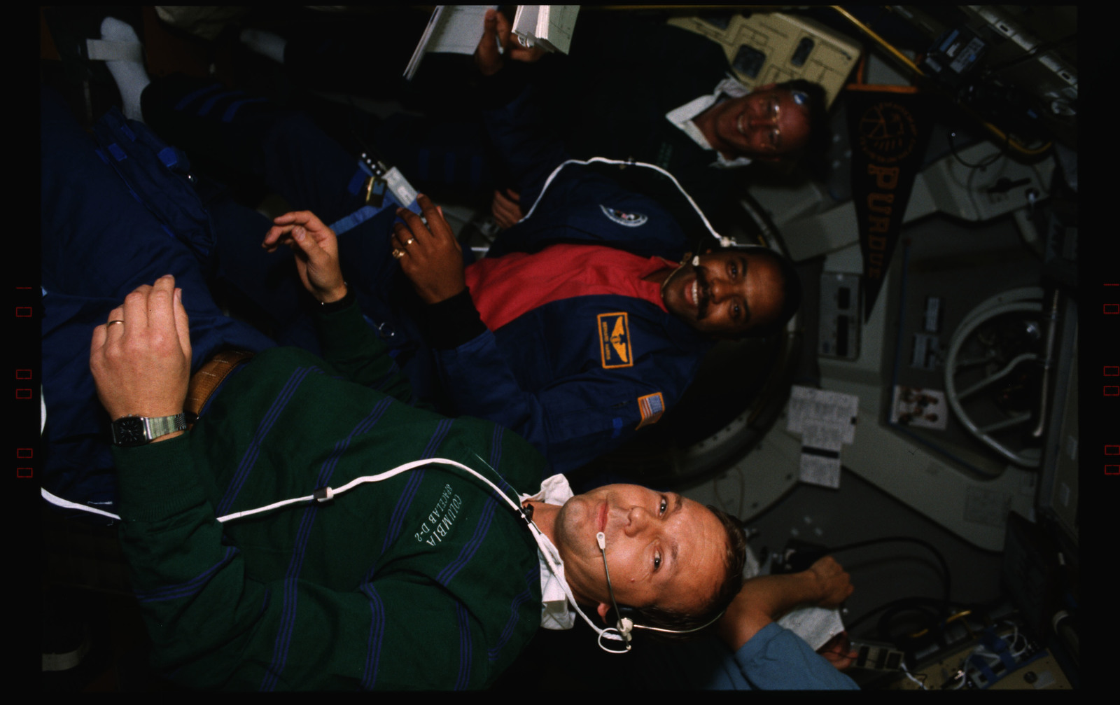 STS055-227-001 - STS-055 - Candid view of crewmembers in the D-2 Spacelab.