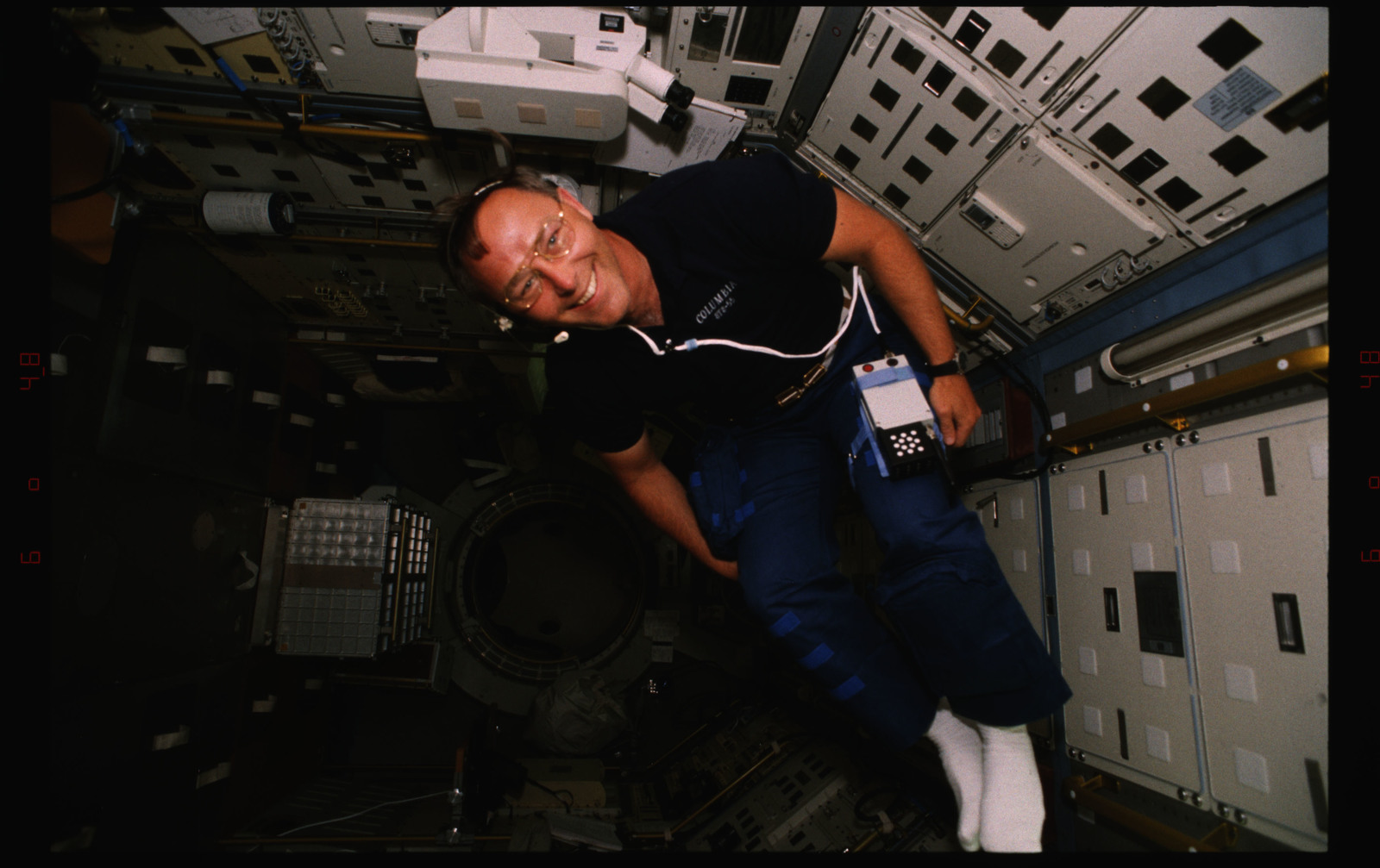 STS055-228-007 - STS-055 - Candid views of a crewmember in the D-2 Spacelab.
