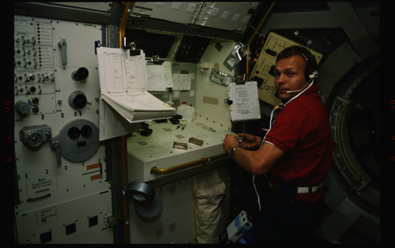 STS055-229-015 - STS-055 - Crewmember and Life Sciences Experiments in the D-2 Spacelab.