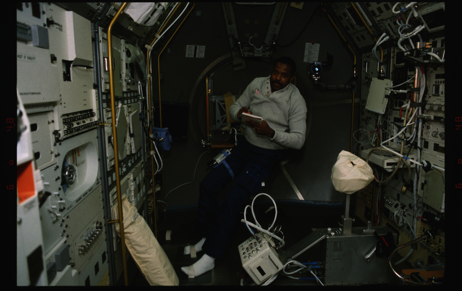 STS055-229-016 - STS-055 - Views of crewmembers in the D-2 Spacelab.
