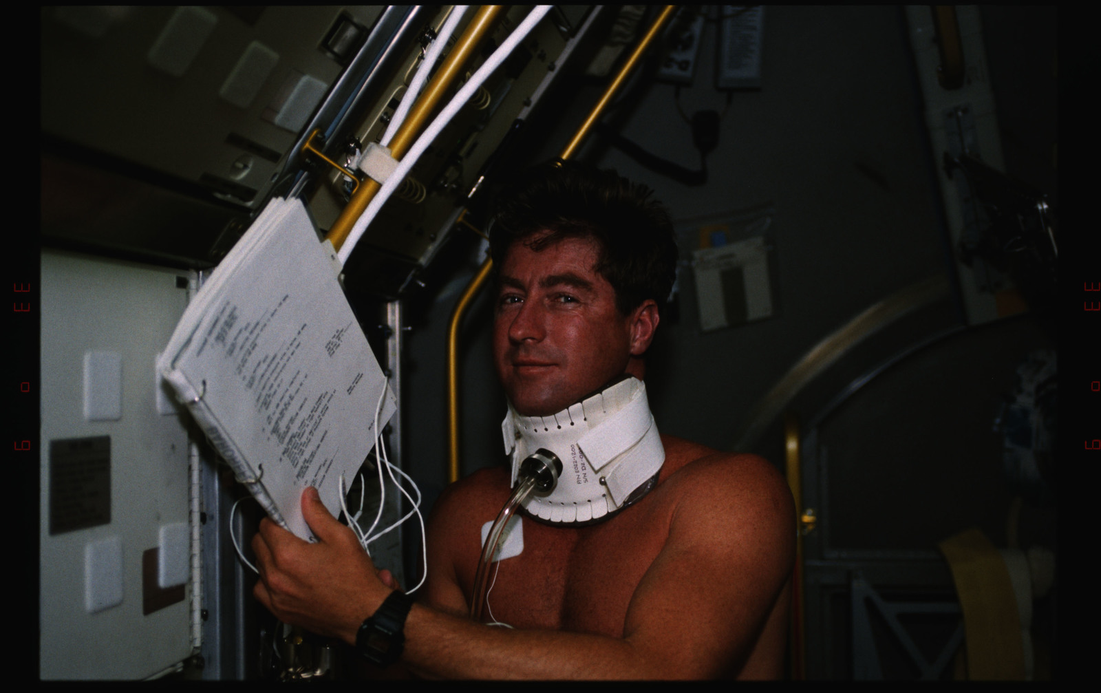STS055-233-019 - STS-055 - Crewmember and Life Sciences Experiment in the D-2 Spacelab.