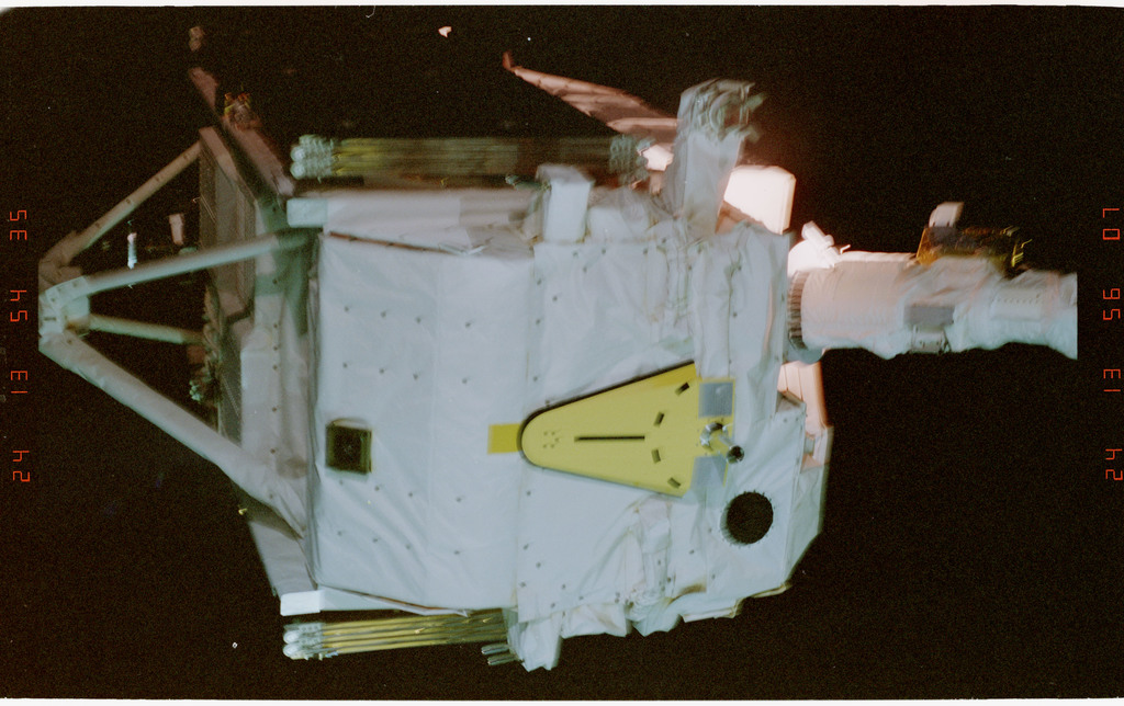 STS057-02-007 - STS-057 - Retrieval of the EUropean REtrievable CArrier EURECA Satellite by RMS