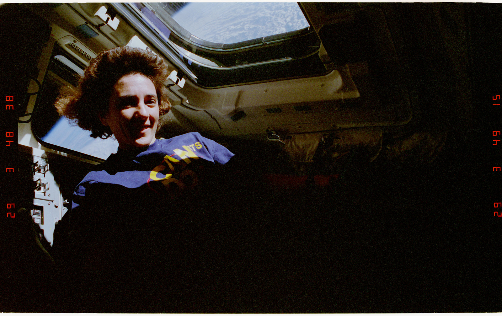 STS057-225-011 - STS-057 - Candid views of a crewmember in the aft flight deck.