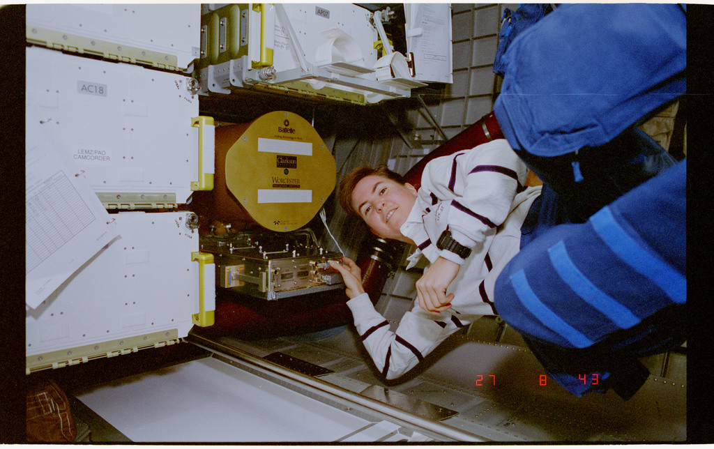 STS057-39-018 - STS-057 - Crewmember in the SPACEHAB with the Zeoliite Crystal Growth experiment.