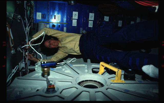 STS061-02-018 - STS-061 - Various views of the STS-61 crew on the Endeavour's middeck