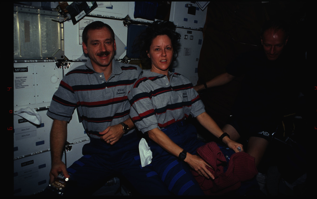 STS061-34-025 - STS-061 - Various views of the STS-61 crew on the middeck