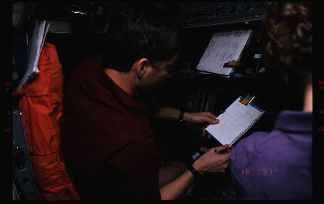 STS063-312-018 - STS-063 - Cdr. Wetherbee on flight deck during Mir rendezvous