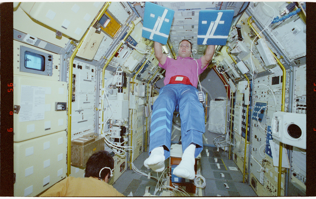 STS065-208-011 - STS-065 - Various views of STS-65 crewmembers in the Spacelab module
