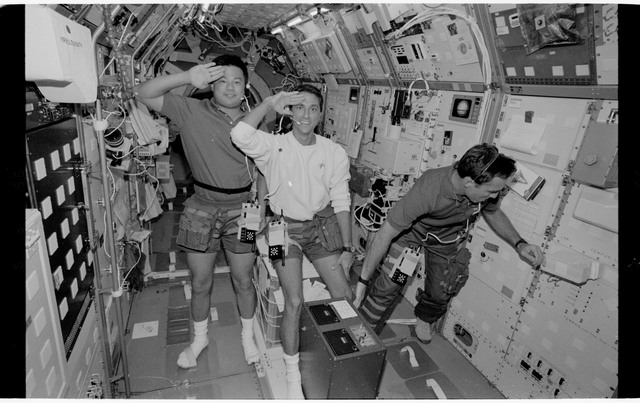 STS065-318-017 - STS-065 - Various views of the STS-65 crew in the Spacelab