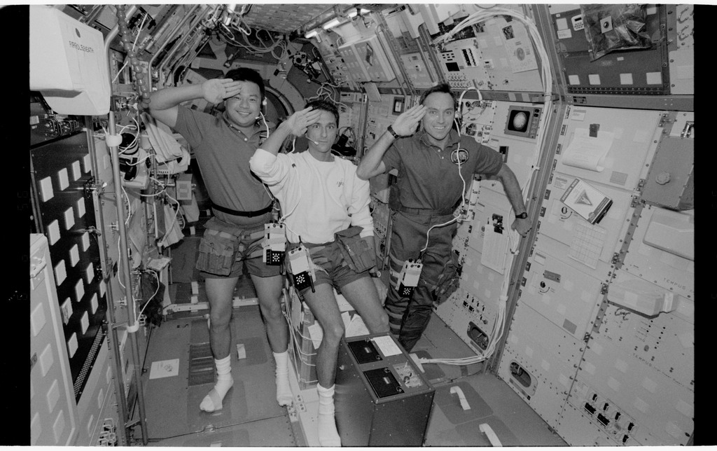 STS065-318-018 - STS-065 - Various views of the STS-65 crew in the Spacelab