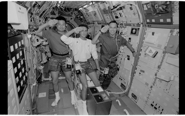 STS065-318-019 - STS-065 - Various views of the STS-65 crew in the Spacelab