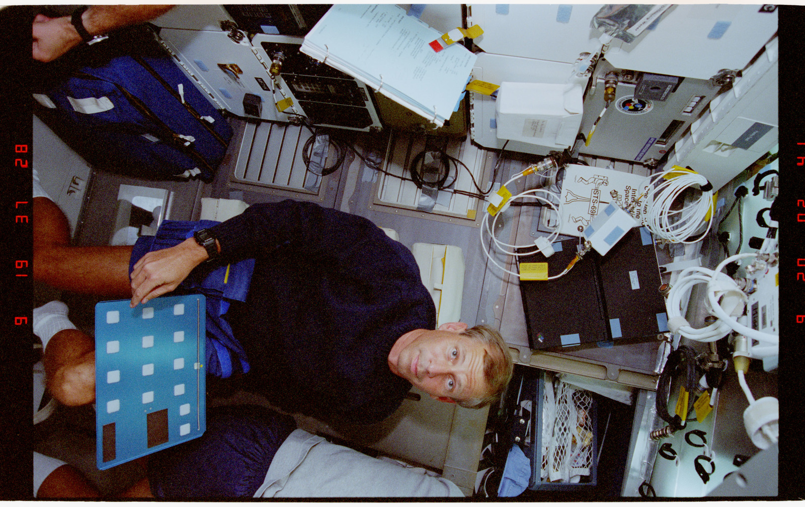 STS069-362-019 - STS-069 - STS-69 crew on middeck during meal time