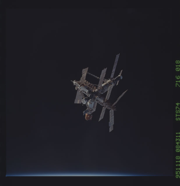 STS074-716-018 - STS-074 - View of complete Mir Space Station after undocking