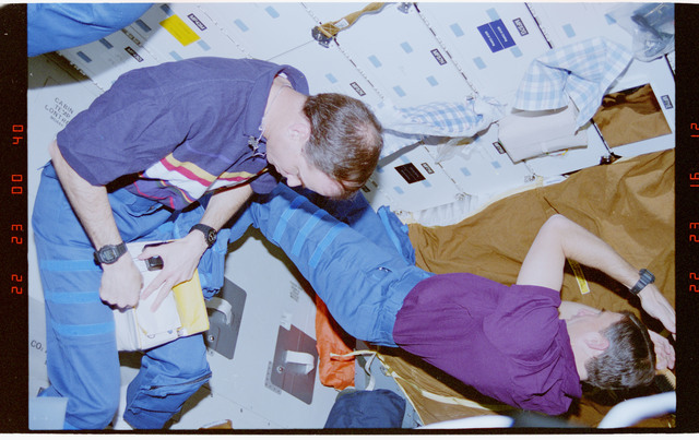 STS076-306-006 - STS-076 - Commander Kevin Chilton and Mission Specialist Ron Sega in middeck