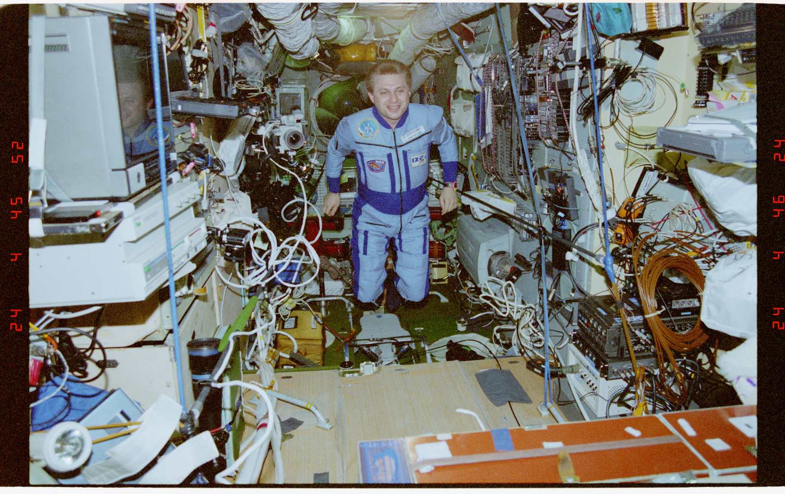 STS076-344-034 - STS-076 - Opening the hatch and welcome ceremony in the Mir Space Station