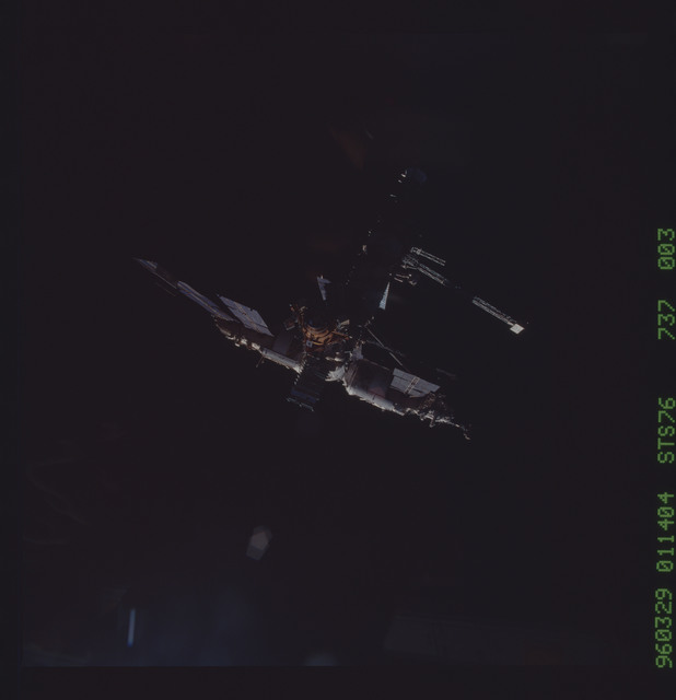 STS076-737-003 - STS-076 - Mir Space Station views taken during flyaround on STS-76 mission