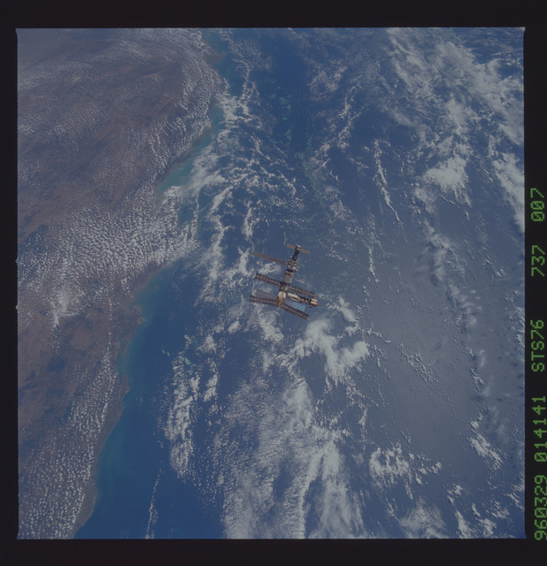 STS076-737-007 - STS-076 - Mir Space Station views taken during flyaround on STS-76 mission