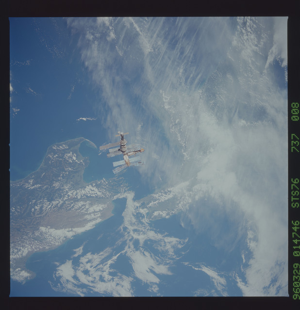 STS076-737-008 - STS-076 - Mir Space Station views taken during flyaround on STS-76 mission