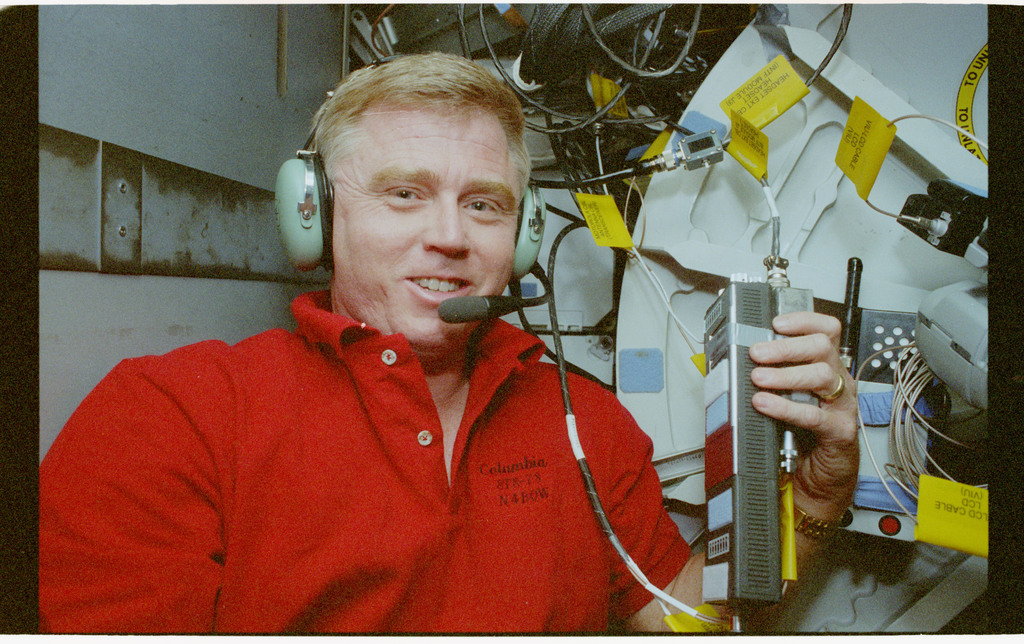 STS078-440-034 - STS-078 - SAREX, Brady talks to amateur radio operators during STS-78 mission