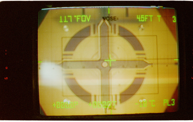 STS081-311-019 - STS-081 - Approach of the docking target on the Mir as seen on the CCTV screen