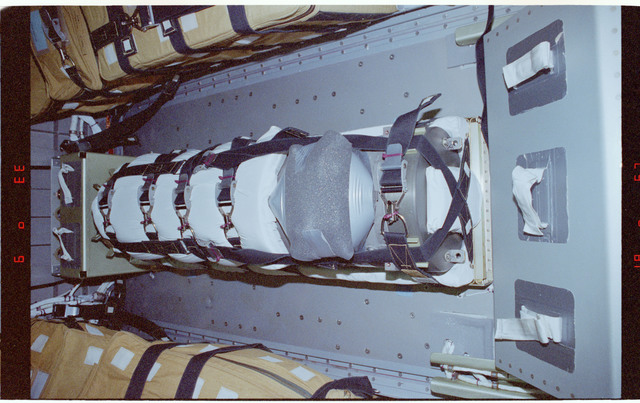 STS086-405-013 - STS-086 - Stowage items on the floor of the Spacehab module