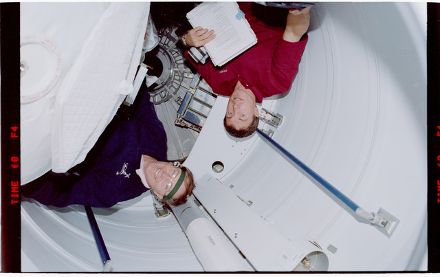STS088-342-018 - STS-088 - View of the STS-88 crew in the PMA and Node 1/Unity module