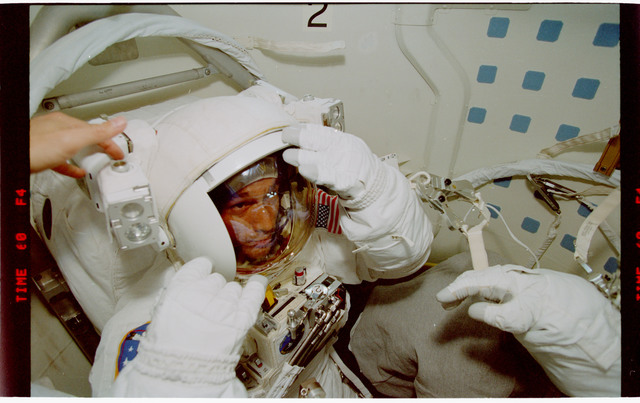 STS088-343-013 - STS-088 - View of preparation for one of the STS-88 EVAs