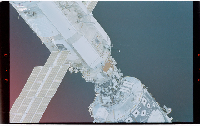 STS088-369-010 - STS-088 - View of the free-flying ISS stack taken during fly-around by STS-97
