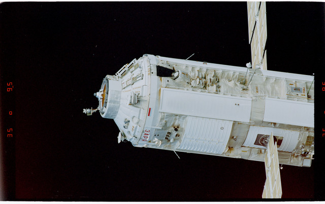 STS088-369-013 - STS-088 - View of the free-flying ISS stack taken during fly-around by STS-100
