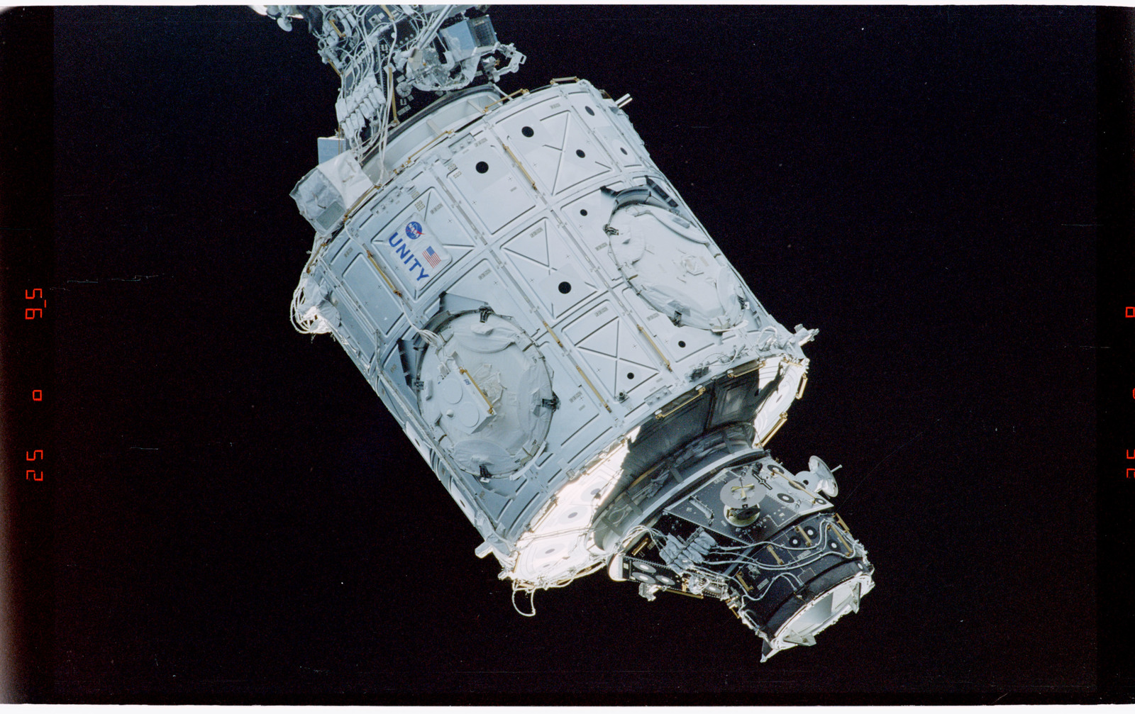 STS088-369-028 - STS-088 - View of the free-flying ISS stack taken during fly-around by STS-115